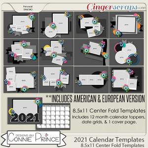2021 Center Fold 8.5x11 Calendar Templates (CU Ok) by Connie Prince