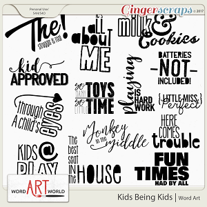 Kids Being Kids Word Art