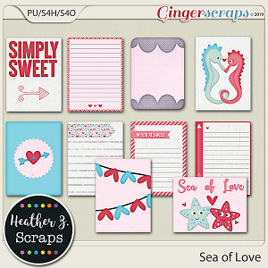 Sea of Love JOURNAL CARDS by Heather Z Scraps