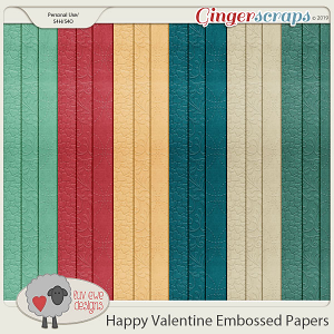 Happy Valentine Embossed Papers by Luv Ewe Designs