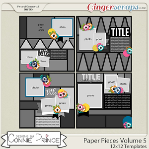 Paper Pieces Volume 5 - 12x12 Temps (CU Ok) by Connie Prince