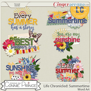 Life Chronicled: Summertime - Word Art Pack by Connie Prince