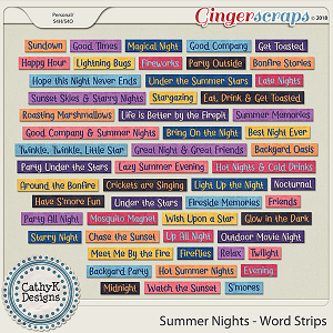 Summer Nights - Word Strips by CathyK Designs