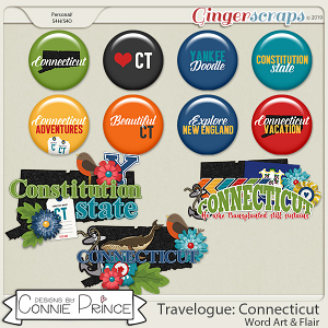 Travelogue Connecticut - Word Art & Flair Pack by Connie Prince