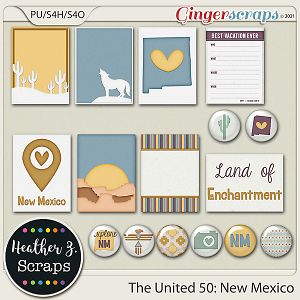 The United 50: New Mexico JOURNAL CARDS & FLAIRS by Heather Z Scraps
