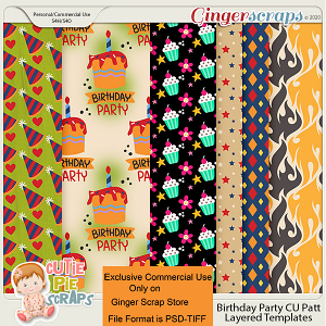 CU Birthday Party Pattern Layered Papers