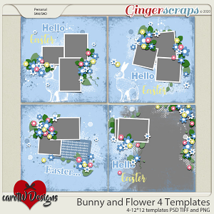 Bunny and Flower 4 Templates by CarolW Designs
