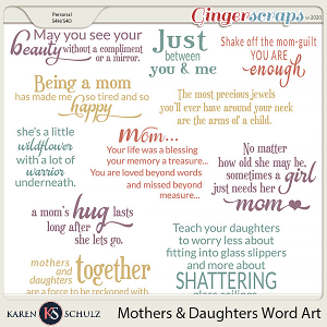 Mothers and Daughters Word Art by Karen Schulz