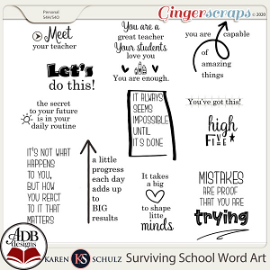 Surviving School Word Art by Karen Schulz and ADB Designs