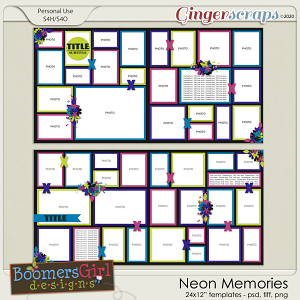 Neon Memories Template Pack by BoomersGirl Designs