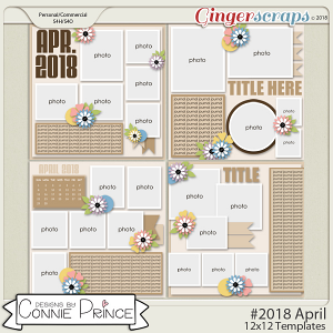 #2018 April - 12x12 Template Pack (CU Ok) by Connie Prince