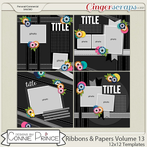 Ribbons & Papers Volume 13 - 12x12 Temps (CU Ok) by Connie Prince