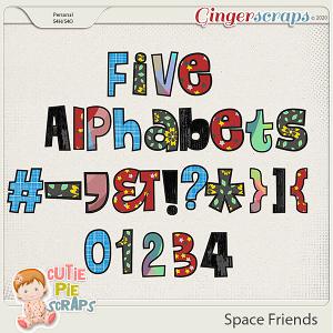 Space Friends Alphabets By Cutie Pie Scraps
