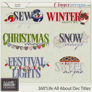 360°Life All About December Word Art Titles by Aimee Harrison