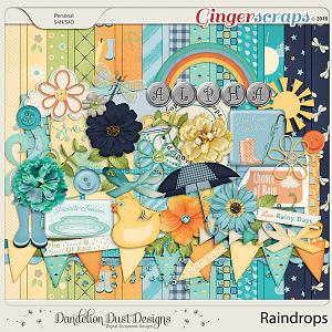 Raindrops Digital Scrapbook Kit By Dandelion Dust Designs