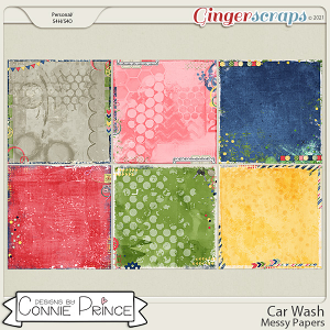Car Wash  - Messy Papers by Connie Prince