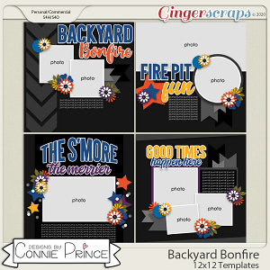 Backyard Bonfire - 12x12 Templates (CU Ok) by Connie Prince