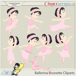 Doodles By Americo: Ballerina Brunette Cliparts
