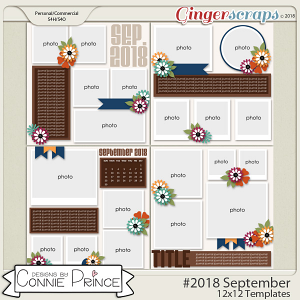 #2018 September - 12x12 Template Pack (CU Ok) by Connie Prince