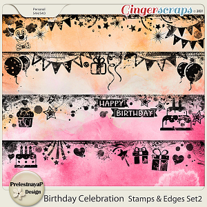 Birthday Celebration Stamps & Edges Set2