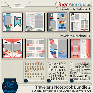 Traveler's Notebook Templates & Word Art Bundle 2 by Miss Fish Templates