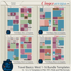Travel Basics Album: West 1-16 Template Bundle by Miss Fish