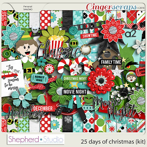 25 Days of Christmas Digital Scrapbooking Kit by Shepherd Studio