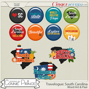Travelogue South Carolina - Word Art & Flair Pack by Connie Prince