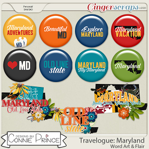 Travelogue Maryland - Word Art & Flair Pack by Connie Prince