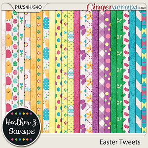 Easter Tweets PAPERS by Heather Z Scraps