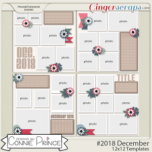#2018 December - 12x12 Template Pack (CU Ok) by Connie Prince