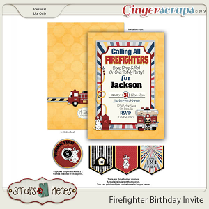 Firefighter Birthday Invitation by Scraps N Pieces