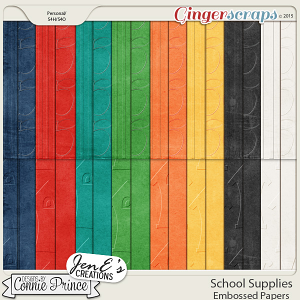 School Supplies - Embossed Papers