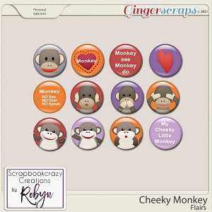 Cheeky Monkey Flairs by Scrapbookcrazy Creations
