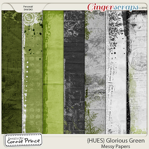 {HUES} Glorious Green - Messy Paper Pack