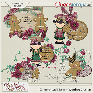 Gingerbread Kisses WordArt Clusters