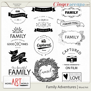 Family Adventures Word Art