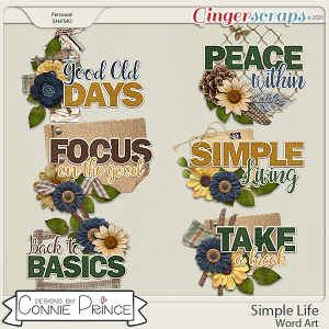 Simple Life - Word Art Pack by Connie Prince