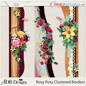 Rosy Posy Cluster Borders by ADB Designs