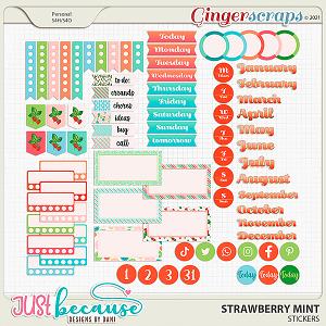 Strawberry Mint Stickers by JB Studio