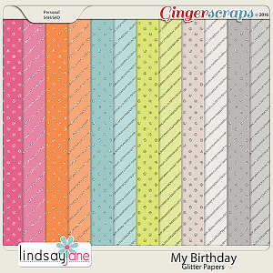 My Birthday Glitter Papers by Lindsay Jane