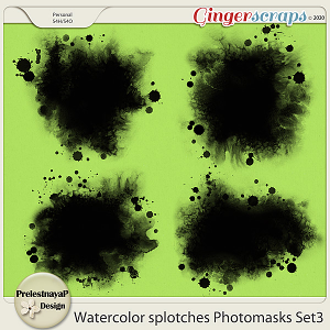 Watercolor splotches Photomasks Set3