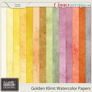 Golden Klimt Watercolor Papers by Aimee Harrison