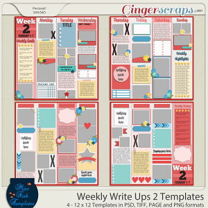 Weekly Write Ups 2 Templates by Miss Fish