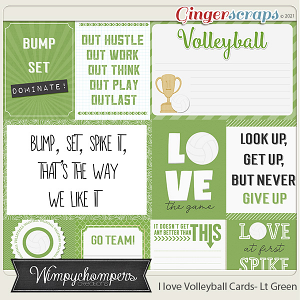 I Love Volleyball Cards- Light Green