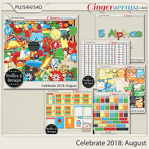 Celebrate 2018: August BUNDLE by Heather Z Scraps