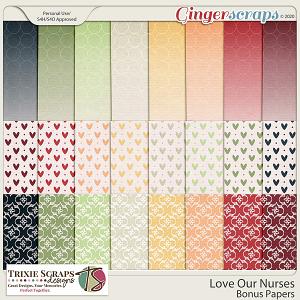 Love Our Nurses Bonus Papers by Trixie Scraps Designs