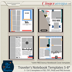 Traveler's Notebook Templates 5-8 by Miss Fish