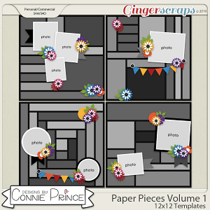Paper Pieces Volume 1 - 12x12 Temps (CU Ok) by Connie Prince