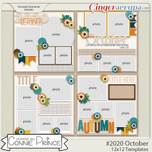 #2020 October - 12x12 Template Pack (CU Ok) by Connie Prince